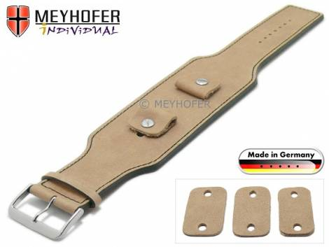 Watch strap -Luederitz- 20-22-24mm multiple ends beige leather antique look black stitching leather pad MEYHOFER - Bild vergrößern