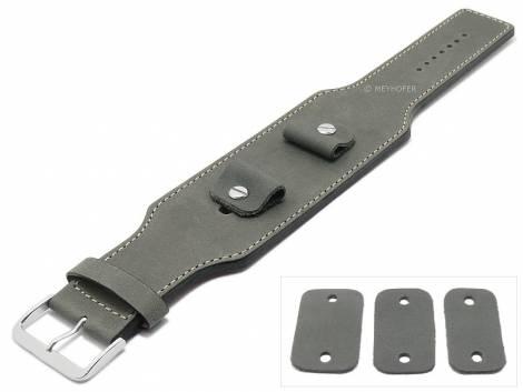 Watch strap -Luederitz- 20-22-24mm multiple ends dark grey leather antique look light stitching leather pad MEYHOFER - Bild vergrößern