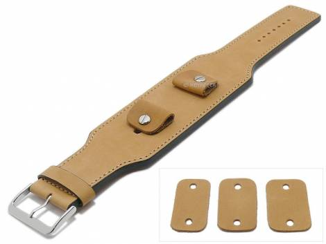 Watch strap -Luederitz- 20-22-24mm multiple ends brown leather antique look light stitching leather pad MEYHOFER - Bild vergrößern