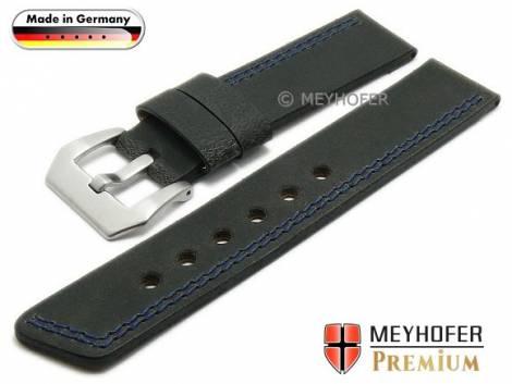 Watch strap -Bayreuth- 24mm black leather smooth matt blue double stitching by MEYHOFER (width of buckle 24 mm) - Bild vergrößern