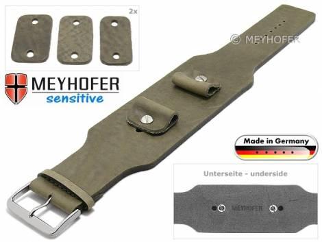 Watch strap -Weilheim- 20-22-24mm multiple ends beige leather antique look vegetable tanned leather pad MEYHOFER - Bild vergrößern