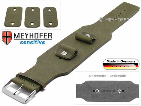 Watch strap -Weilheim- 20-22-24mm multiple ends dark green leather antique look vegetable tanned leather pad MEYHOFER - Bild vergrößern