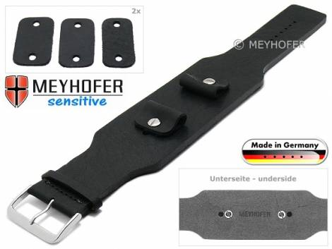 Watch strap -Weilheim- 20-22-24mm multiple ends black leather antique look vegetable tanned leather pad MEYHOFER - Bild vergrößern