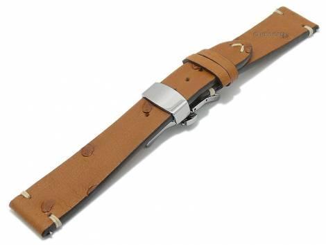 HANDMADE IN GERMANY: Watch strap -Nordkap- 22mm light brown gen. ostrich clasp optionally also with EASY-CLICK MEYHOFER - Bild vergrößern