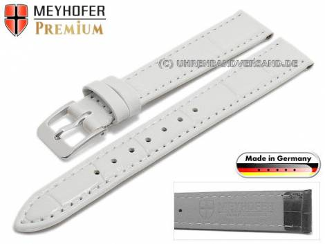 Watch strap -Wellington- 14mm white leather alligator grain stitched by MEYHOFER (width of buckle 12 mm) - Bild vergrößern