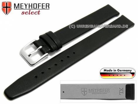 Watch strap XL -Regensburg- 12mm black leather grained without stitching by MEYHOFER (width of buckle 12 mm) - Bild vergrößern