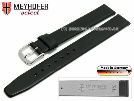 Watch strap XL -Regensburg- 13mm black leather grained without stitching by MEYHOFER (width of buckle 12 mm) - Bild vergrößern