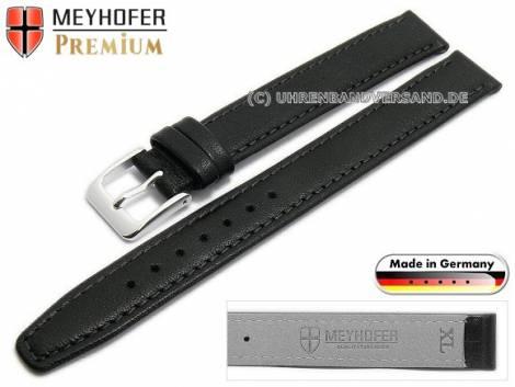 Watch strap XL -Passau- 10mm black leather grained stitched by MEYHOFER (width of buckle 10 mm) - Bild vergrößern