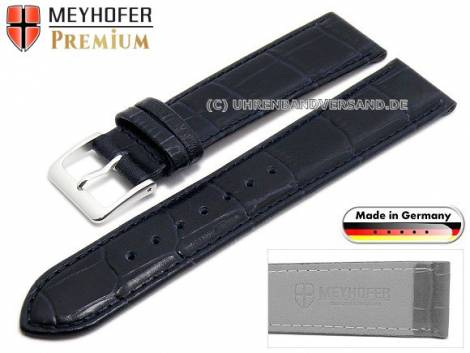 Watch strap -Wellington- 17mm dark blue leather alligator grain stitched by MEYHOFER (width of buckle 16 mm) - Bild vergrößern