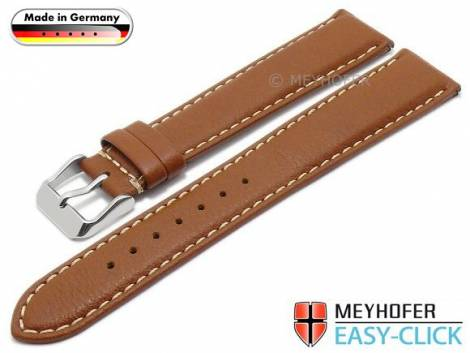 Meyhofer EASY-CLICK watch strap XL -Mosel- 20mm light brown leather grained light stitching (width of buckle 18 mm) - Bild vergrößern