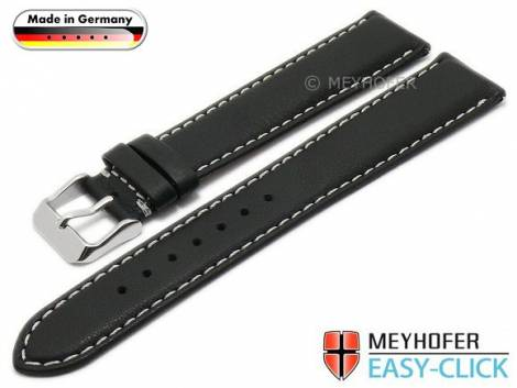 Meyhofer EASY-CLICK watch strap -Lahn- 20mm black leather grained light stitching (width of buckle 18 mm) - Bild vergrößern