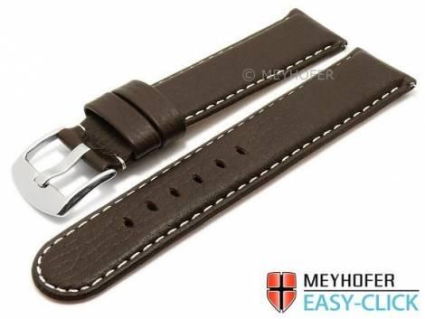 Meyhofer EASY-CLICK watch strap -Tahoe- 22mm dark brown leather grained light stitching (width of buckle 22 mm) - Bild vergrößern