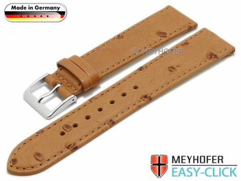 Meyhofer EASY-CLICK watch strap -Iller- 22mm light brown leather ostrich grain stitched (width of buckle 18 mm) - Bild vergrößern