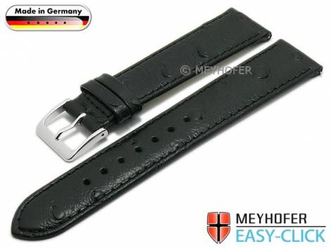 Meyhofer EASY-CLICK watch strap -Iller- 20mm black leather ostrich grain stitched (width of buckle 18 mm) - Bild vergrößern