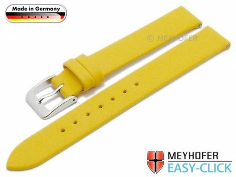 Meyhofer EASY-CLICK watch strap -Donau- 12mm yellow leather smooth without stitching (width of buckle 12 mm) - Bild vergrößern