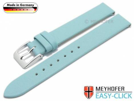 Meyhofer EASY-CLICK watch strap -Donau- 12mm light blue leather smooth without stitching (width of buckle 12 mm) - Bild vergrößern