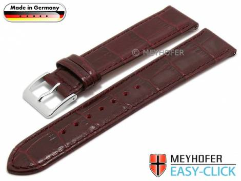 Watch strap Meyhofer EASY-CLICK XS -Eifel- 20mm bordeaux leather alligator grain stitched (width of buckle 18 mm) - Bild vergrößern