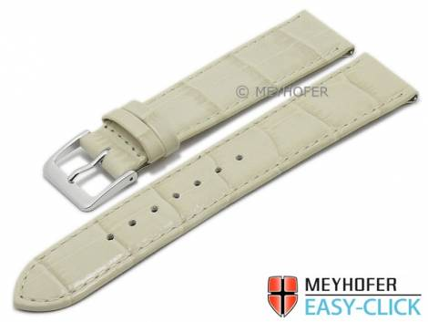Meyhofer EASY-CLICK watch strap -Isar- 22mm light beige leather alligator grain stitched (width of buckle 18 mm) - Bild vergrößern