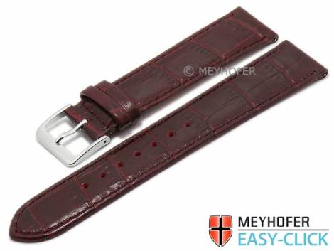 Meyhofer EASY-CLICK watch strap -Isar- 22mm bordeaux leather alligator grain stitched (width of buckle 18 mm) - Bild vergrößern