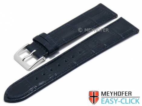 Meyhofer EASY-CLICK watch strap -Isar- 16mm dark blue leather alligator grain stitched (width of buckle 16 mm) - Bild vergrößern