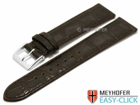 Meyhofer EASY-CLICK watch strap -Isar- 18mm dark brown leather alligator grain stitched (width of buckle 16 mm) - Bild vergrößern
