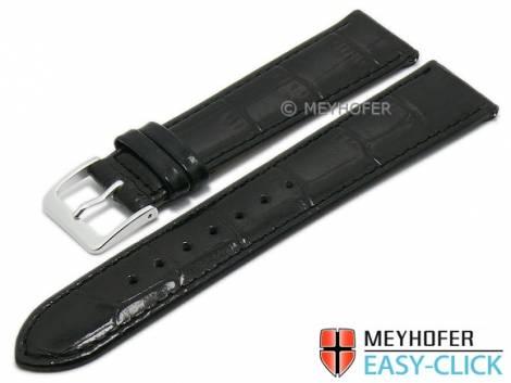 Meyhofer EASY-CLICK watch strap -Isar- 22mm black leather alligator grain stitched (width of buckle 18 mm) - Bild vergrößern