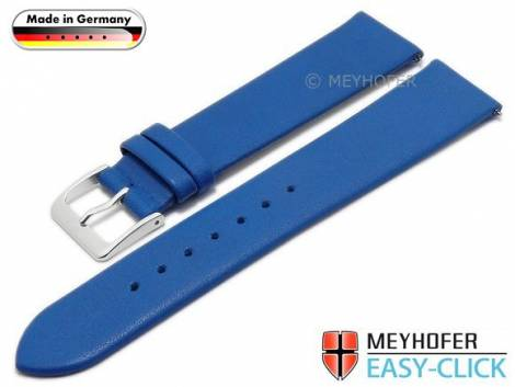 Meyhofer EASY-CLICK watch strap XS -Weser- 18mm azure blue leather smooth without stitching (width of buckle 18 mm) - Bild vergrößern