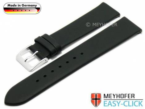 Meyhofer EASY-CLICK watch strap -Donau- 24mm black leather smooth without stitching (width of buckle 18 mm) - Bild vergrößern