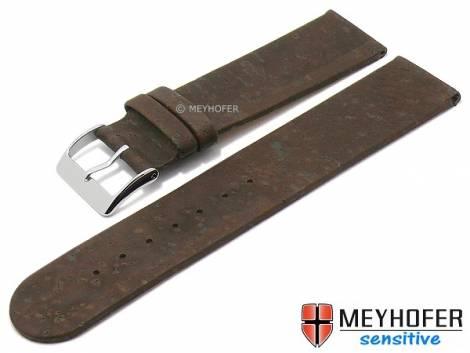 Watch strap -Tavira- 16mm dark brown genuine cork VEGAN by MEYHOFER (width of buckle 16 mm) - Bild vergrößern