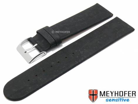 Watch strap -Tavira- 16mm black genuine cork VEGAN by MEYHOFER (width of buckle 16 mm) - Bild vergrößern