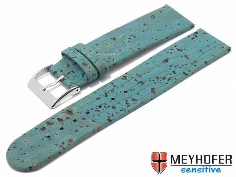 Watch strap -Tavira- 16mm turquoise genuine cork VEGAN by MEYHOFER (width of buckle 16 mm) - Bild vergrößern