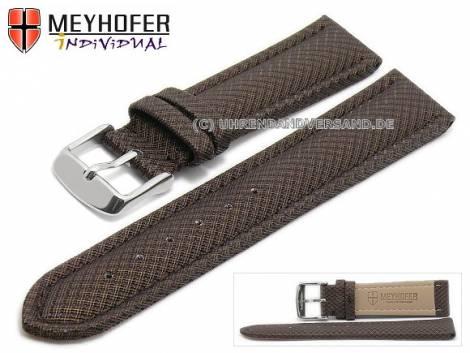 Watch strap -Saarburg- 24mm dark brown synthetic textile look stitched MEYHOFER (width of buckle 22 mm) - Bild vergrößern