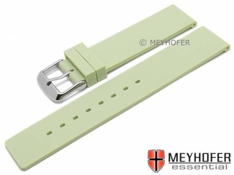 Watch strap -Coburg- 22mm light green silicone smooth matt by MEYHOFER (width of buckle 22 mm) - Bild vergrößern