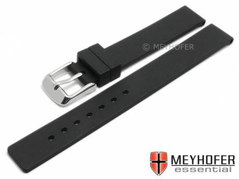 Watch strap -Coburg- 12mm black silicone smooth matt by MEYHOFER (width of buckle 12 mm) - Bild vergrößern