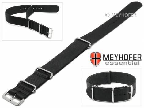 Watch strap -Garland- 24mm black textile one piece strap in NATO style by MEYHOFER - Bild vergrößern