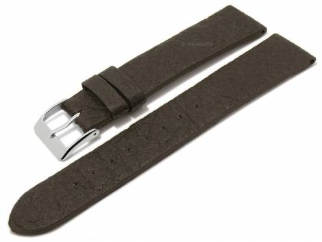 Watch strap -Waterbury- 18mm dark brown from pineapple fibers VEGAN matt by MEYHOFER (width of buckle 16 mm) - Bild vergrößern