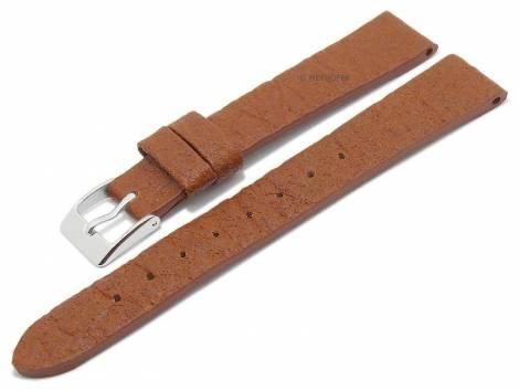 Watch strap -Waterbury- 14mm light brown from pineapple fibers VEGAN matt by MEYHOFER (width of buckle 12 mm) - Bild vergrößern