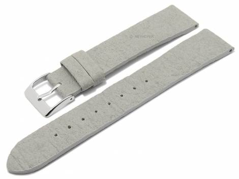 Watch strap -Waterbury- 16mm light grey from pineapple fibers VEGAN matt by MEYHOFER (width of buckle 14 mm) - Bild vergrößern