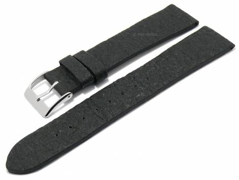 Watch strap -Waterbury- 22mm black from pineapple fibers VEGAN matt by MEYHOFER (width of buckle 20 mm) - Bild vergrößern