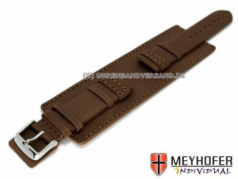 Watch strap -Senica- 24mm dark brown leather smooth stitched with leather pad by MEYHOFER (width of buckle 22 mm) - Bild vergrößern