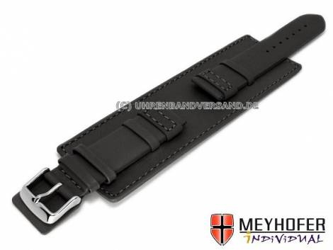 Watch strap -Senica- 22mm black leather smooth stitched with leather pad by MEYHOFER (width of buckle 20 mm) - Bild vergrößern