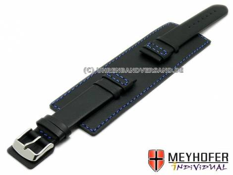 Watch strap -Senica Sport- 22mm black leather smooth blue stitching with leather pad by MEYHOFER (width of buckle 20 mm) - Bild vergrößern