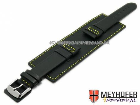 Watch strap -Senica Sport- 24mm black leather smooth yellow stitching with leather pad MEYHOFER (width of buckle 22 mm) - Bild vergrößern