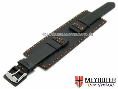 Watch strap -Senica Sport- 22mm black leather smooth orange stitching with leather pad MEYHOFER (width of buckle 20 mm) - Bild vergrößern