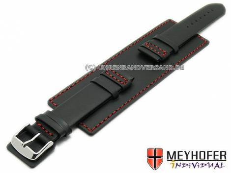 Watch strap -Senica Sport- 22mm black leather smooth red stitching with leather pad by MEYHOFER (width of buckle 20 mm) - Bild vergrößern