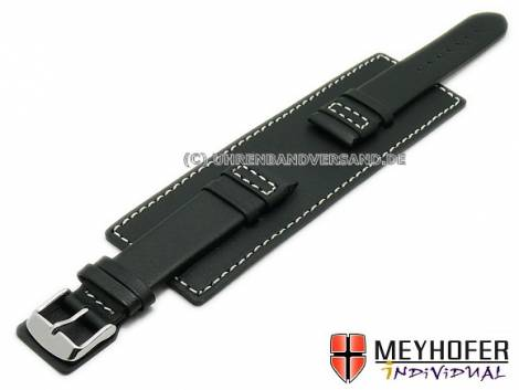 Watch strap -Senica Sport- 22mm black leather smooth light stitching with leather pad MEYHOFER (width of buckle 20 mm) - Bild vergrößern