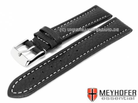 Watch strap XL -Anklam- 22mm black leather grained light stitching by MEYHOFER (width of buckle 20 mm) - Bild vergrößern