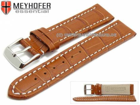 Watch strap XL -Sanford- 22mm brown leather alligator grain light stitching by MEYHOFER (width of buckle 20 mm) - Bild vergrößern