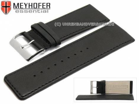 Watch strap -Derenburg- 38mm black leather smooth matt stitched by MEYHOFER (width of buckle 36 mm) - Bild vergrößern