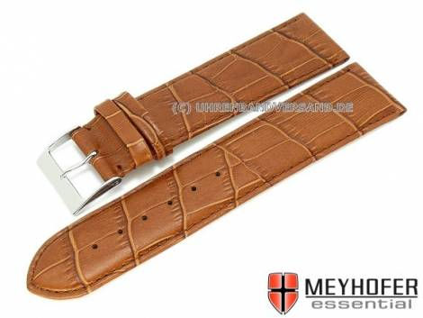 Watch strap XL -Maracaibo- 24mm light brown leather alligator grain stitched by MEYHOFER (width of buckle 22 mm) - Bild vergrößern